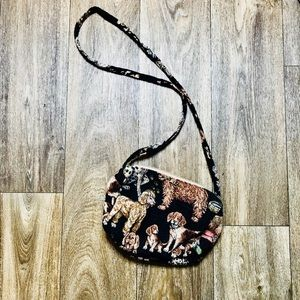 Vintage Retro 80's Dog Tapestry Crossbody Bag